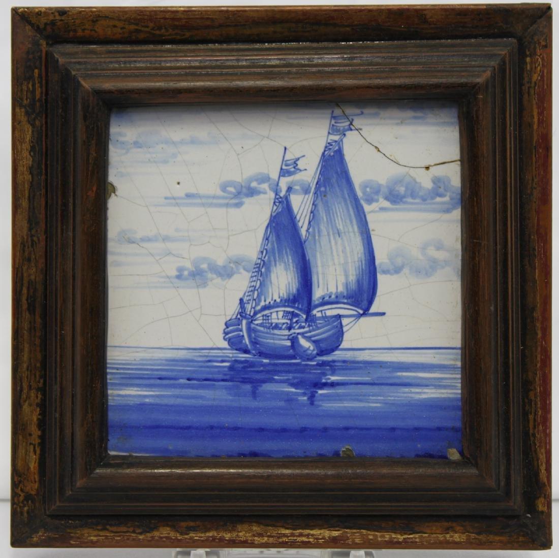 17 Century Dutch Delft Blue Tile - 2