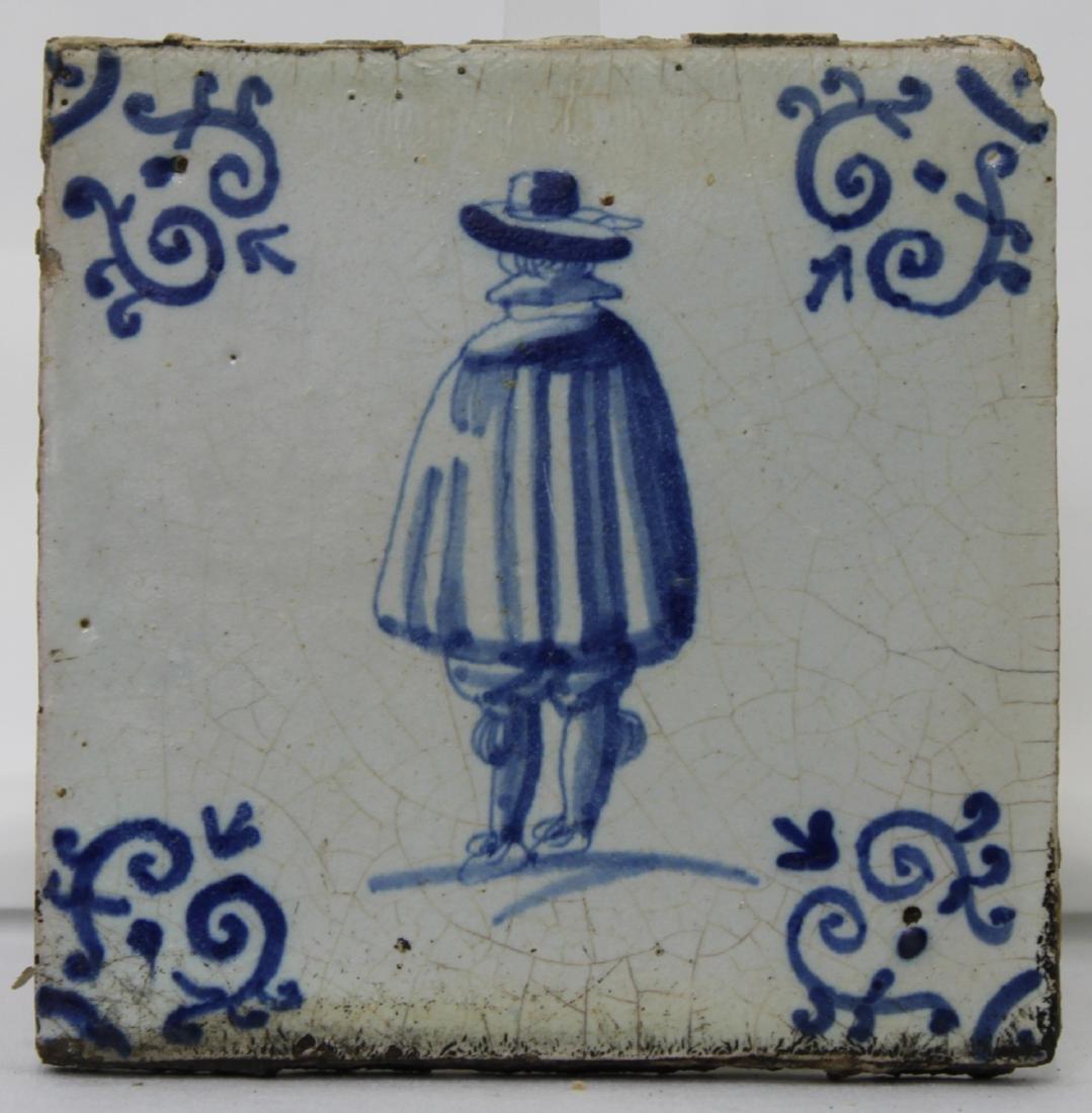 Set of Six (6) 17 Century Dutch Delft Blue Tile - 10