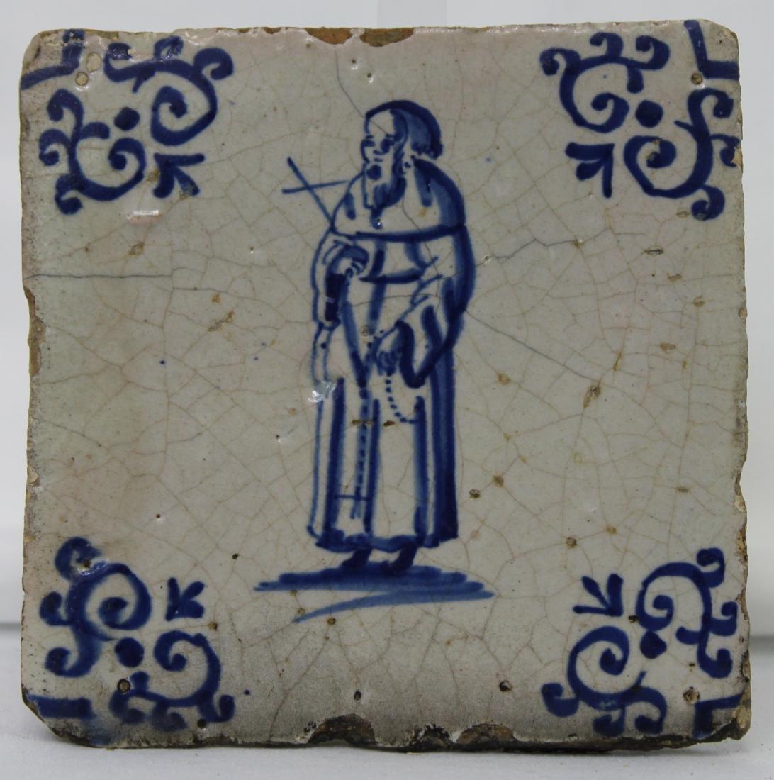Set of Six (6) 17 Century Dutch Delft Blue Tile - 12