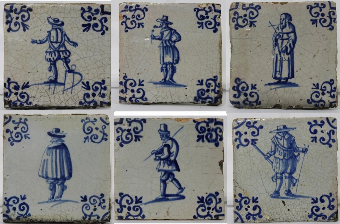 Set of Six (6) 17 Century Dutch Delft Blue Tile