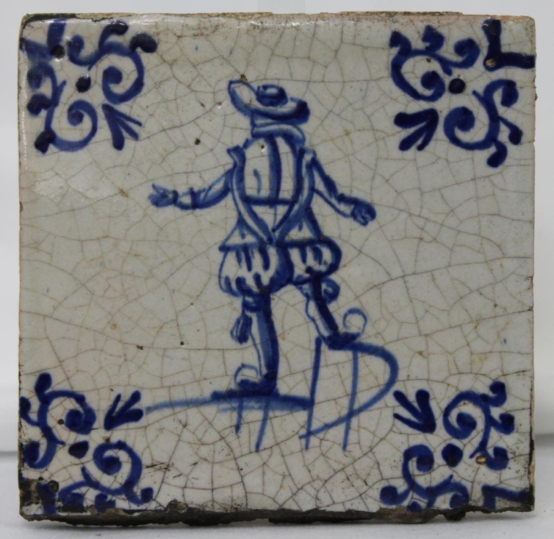 Set of Six (6) 17 Century Dutch Delft Blue Tile - 2