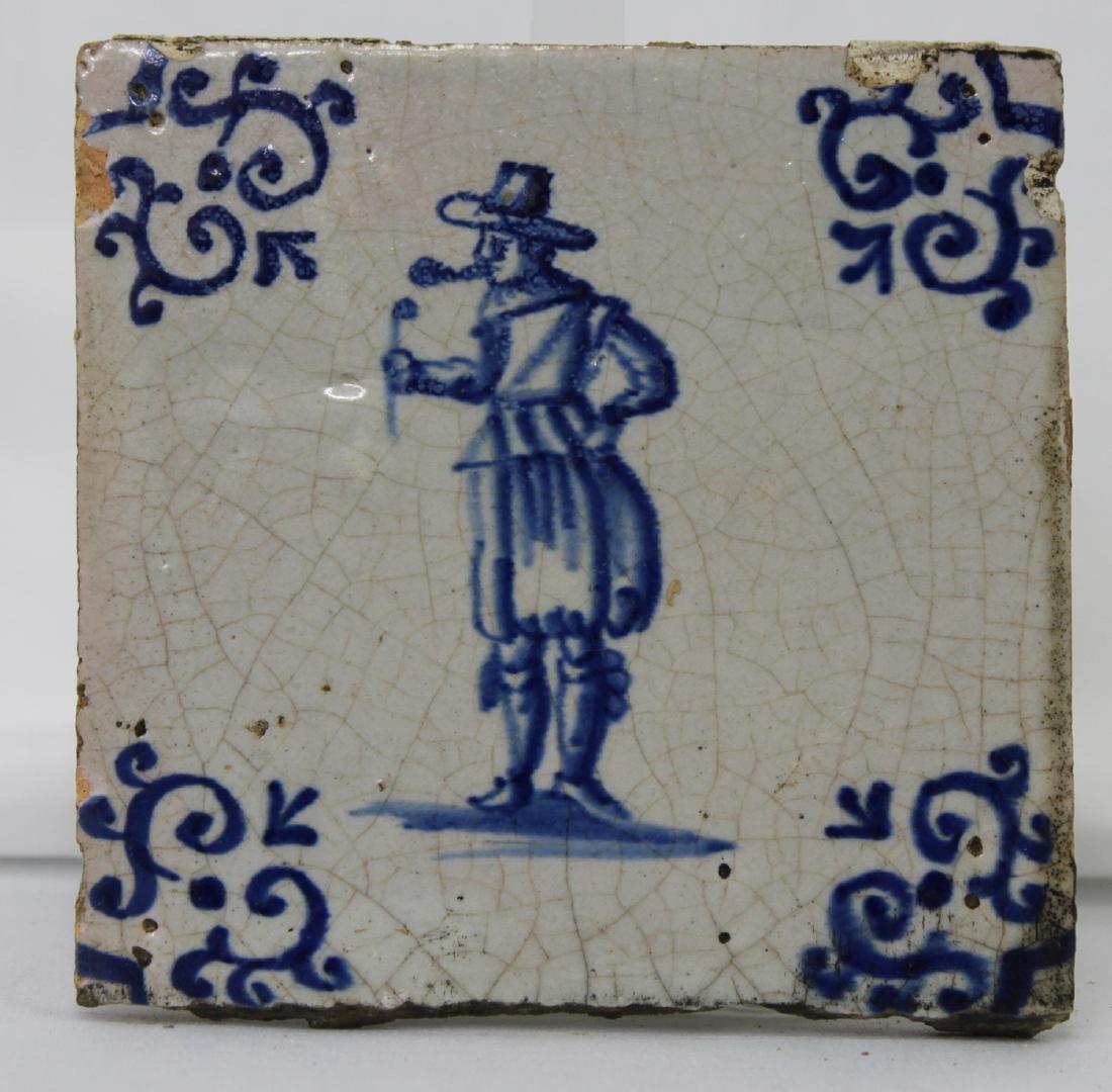 Set of Six (6) 17 Century Dutch Delft Blue Tile - 4
