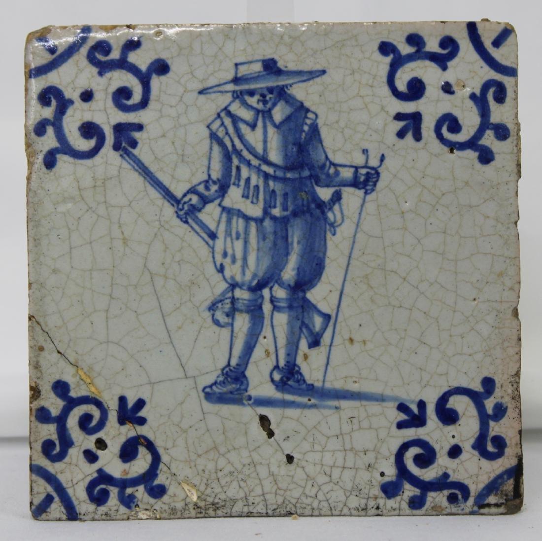 Set of Six (6) 17 Century Dutch Delft Blue Tile - 6