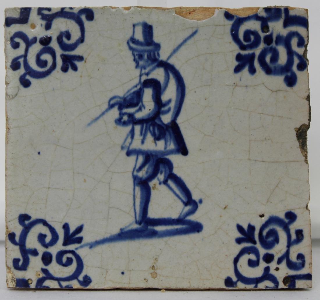 Set of Six (6) 17 Century Dutch Delft Blue Tile - 8