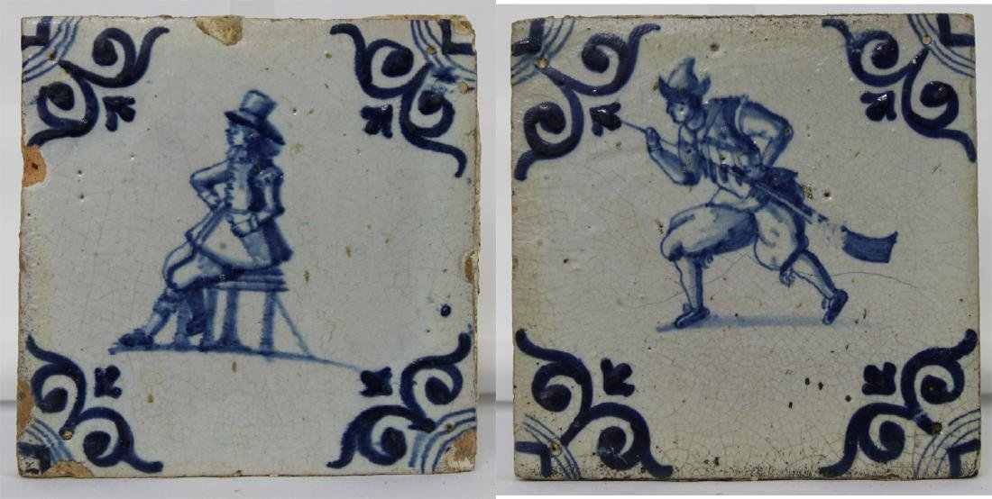 Pair of 17 Century Dutch Delft Blue Tiles