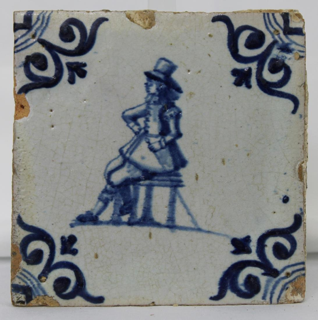 Pair of 17 Century Dutch Delft Blue Tiles - 2