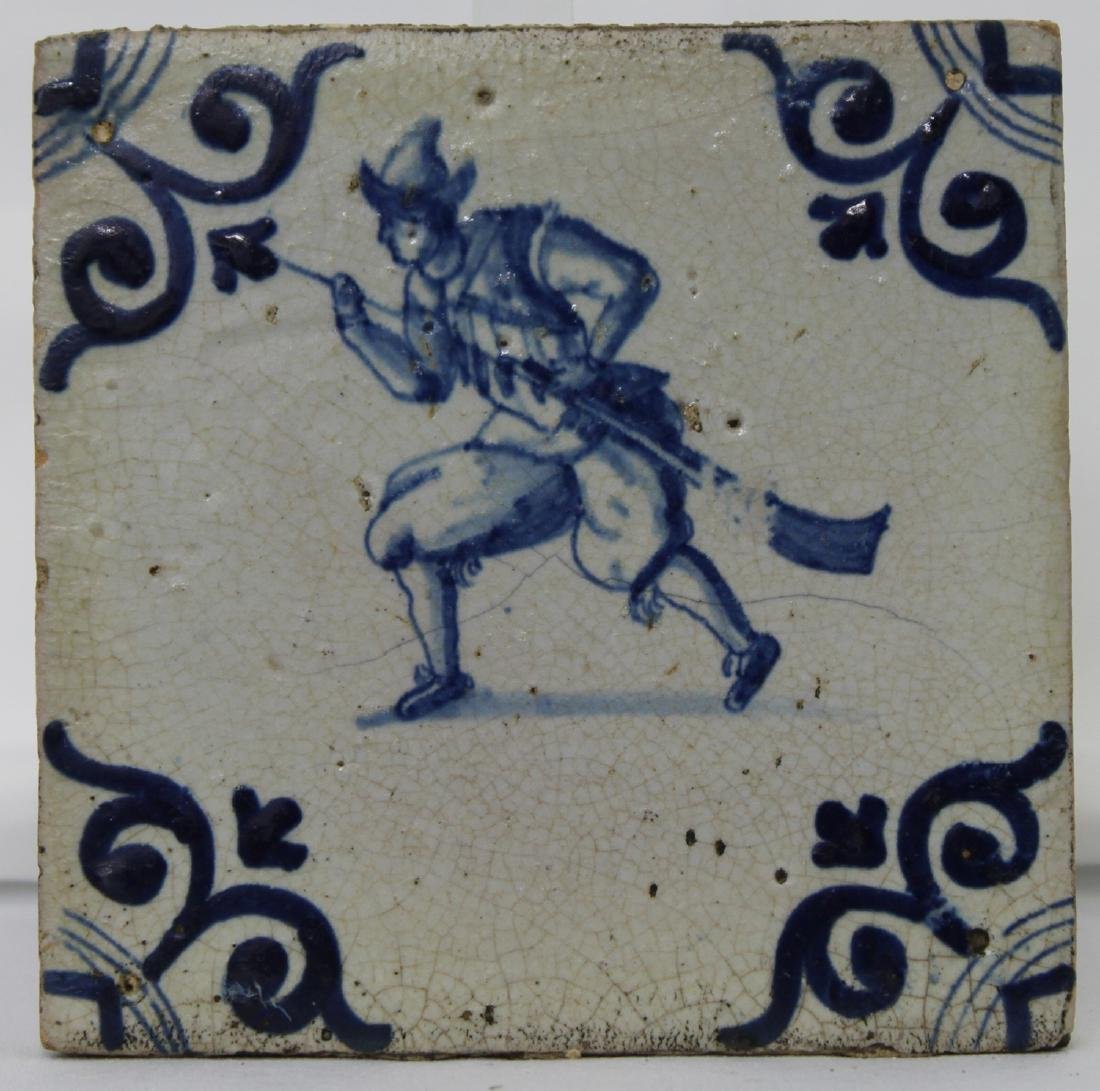 Pair of 17 Century Dutch Delft Blue Tiles - 4