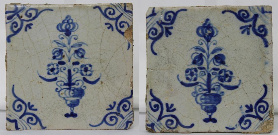 Pair 17 Century Dutch Delft Blue Tiles