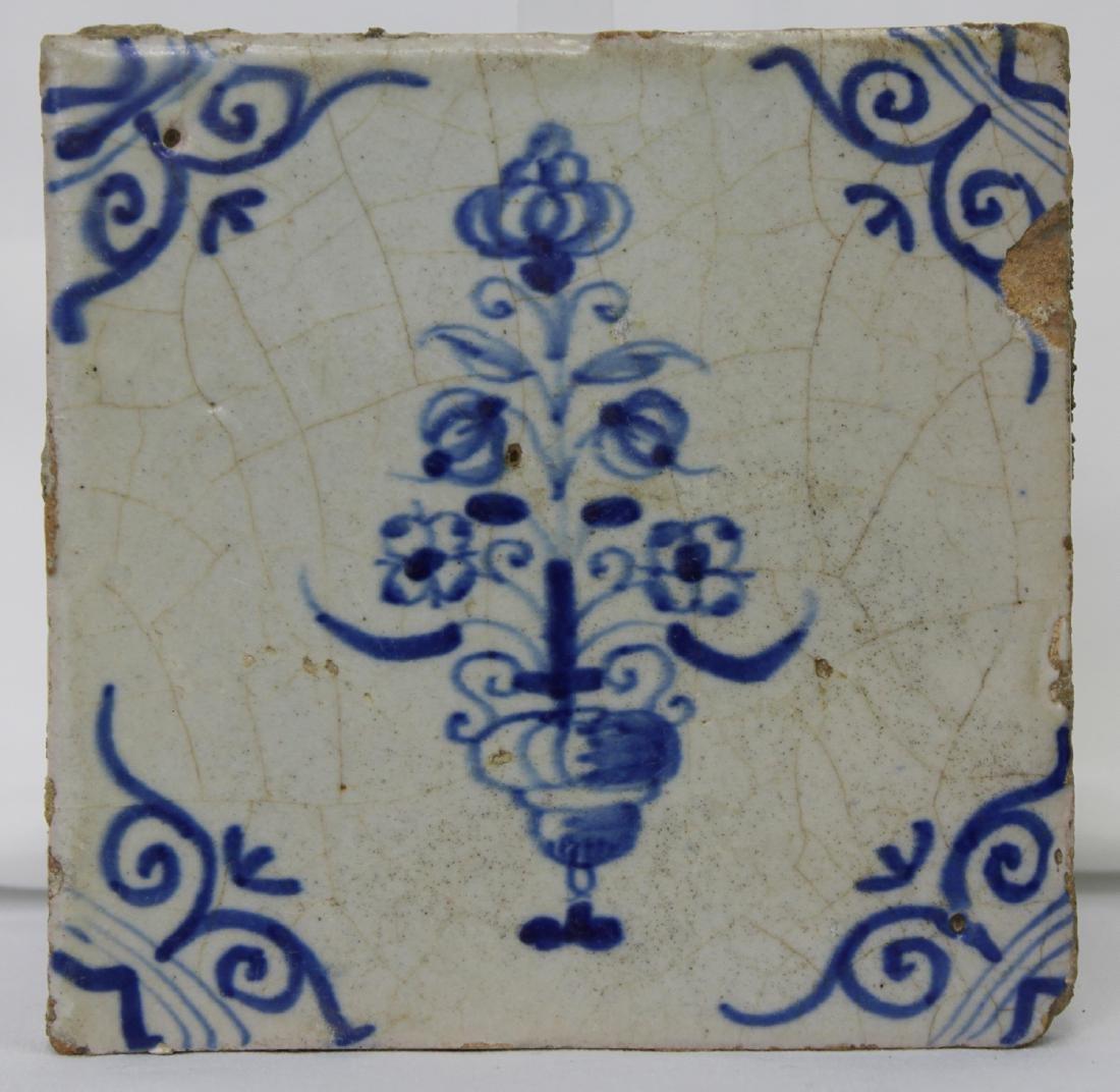 Pair 17 Century Dutch Delft Blue Tiles - 2