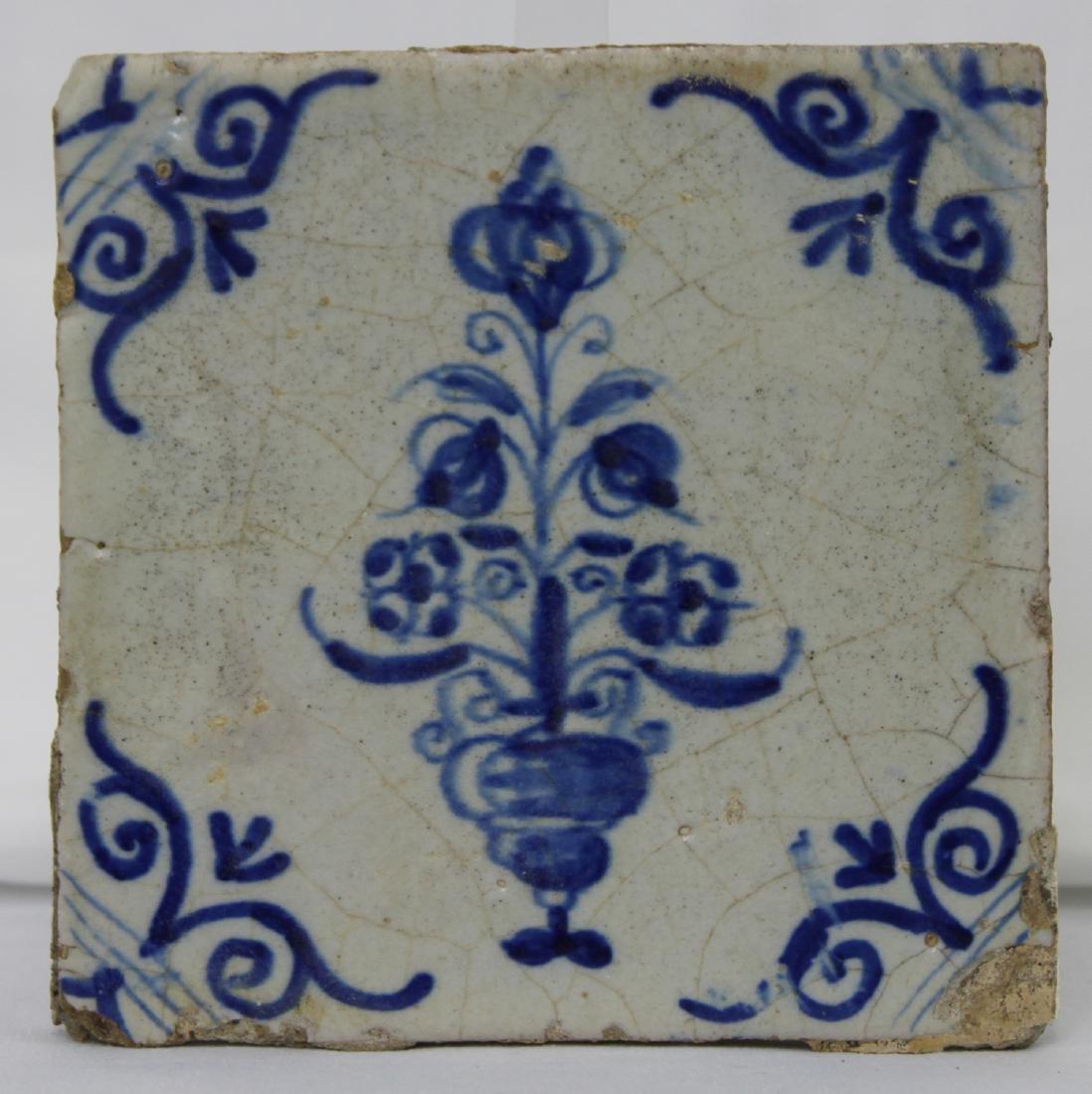 Pair 17 Century Dutch Delft Blue Tiles - 4