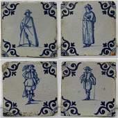 Set of Four (4) 17 Century Dutch Delft Blue Tiles