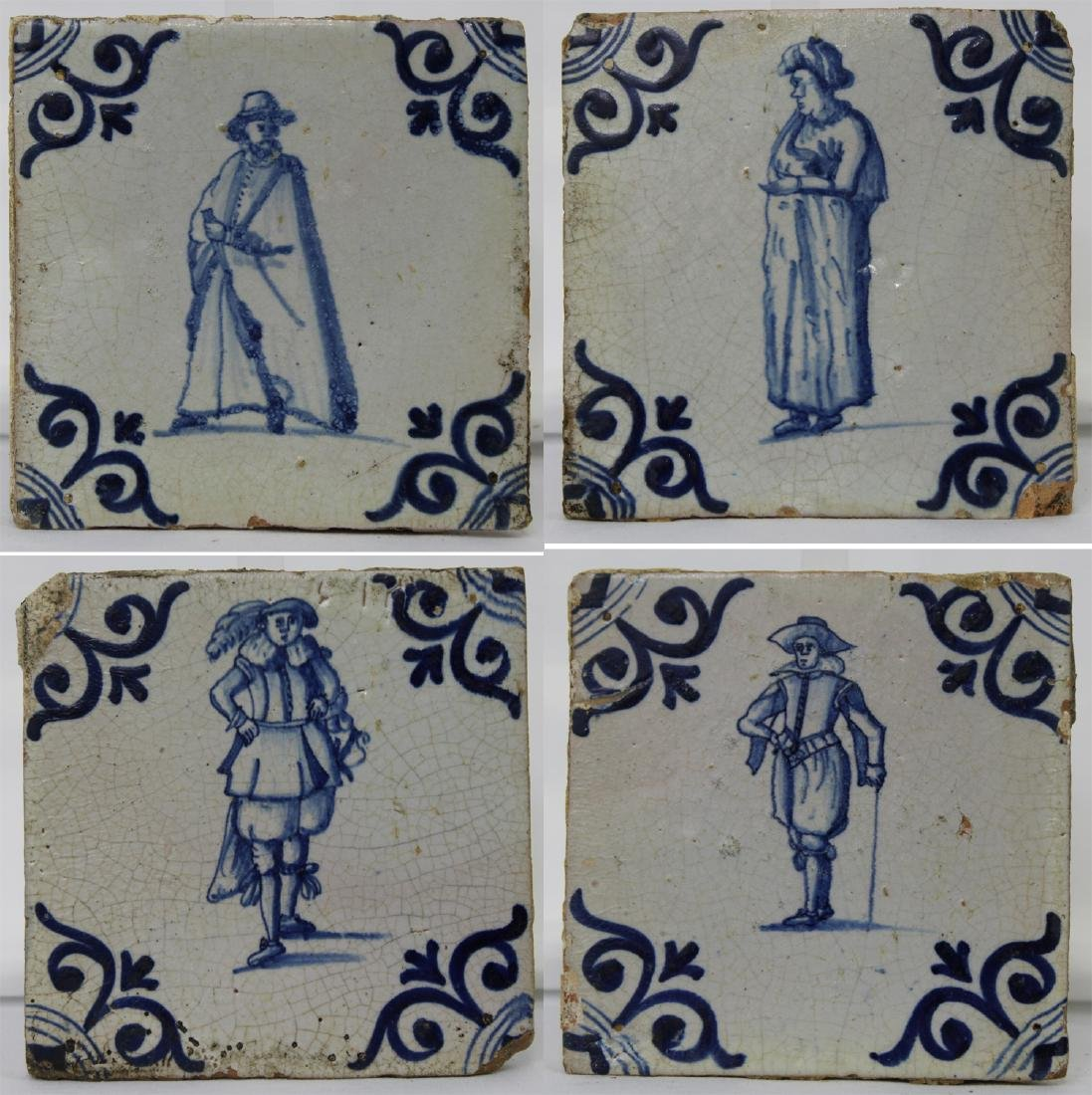 Set of Four (4) 17 Century Dutch Delft Blue Tiles