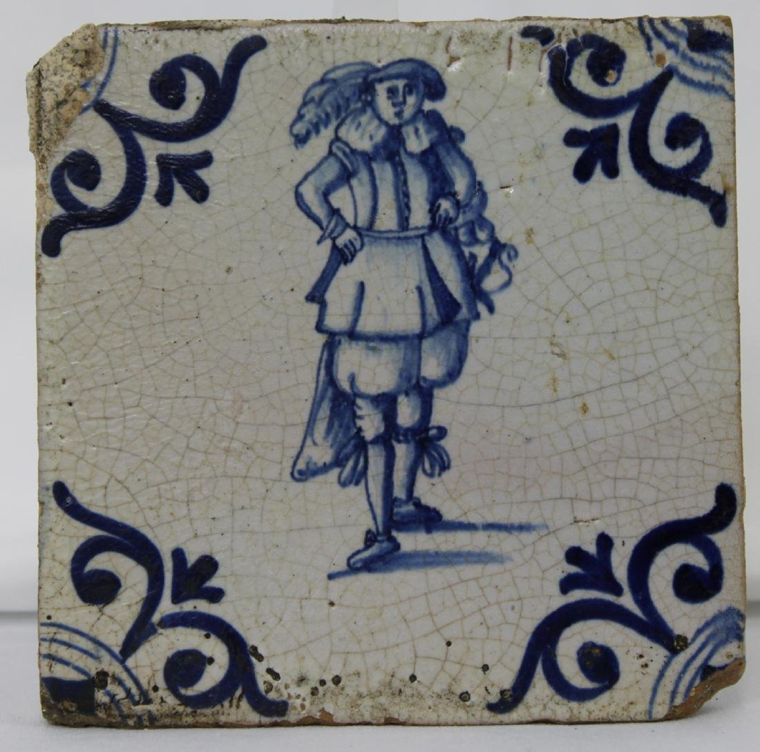 Set of Four (4) 17 Century Dutch Delft Blue Tiles - 2