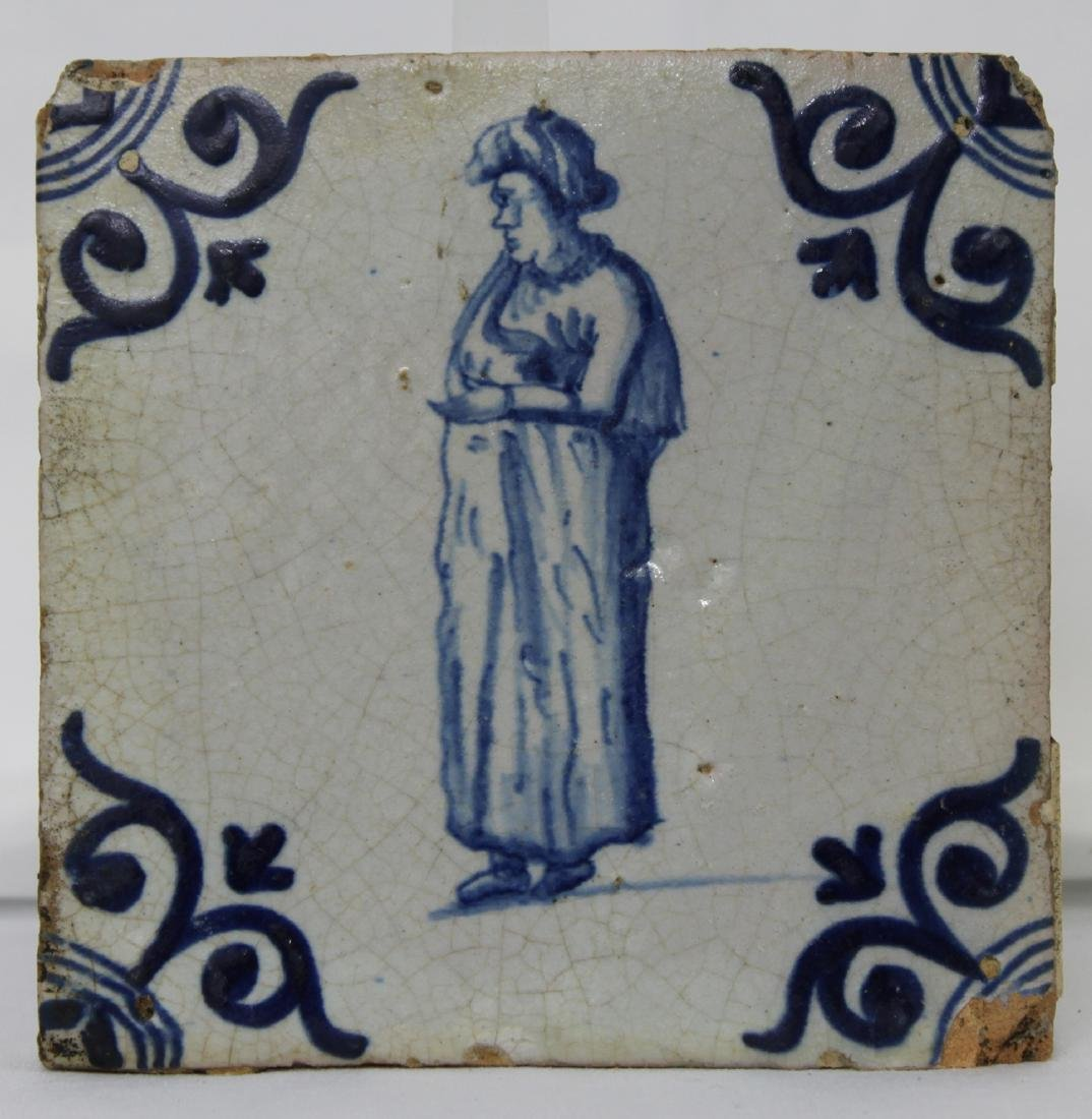 Set of Four (4) 17 Century Dutch Delft Blue Tiles - 4