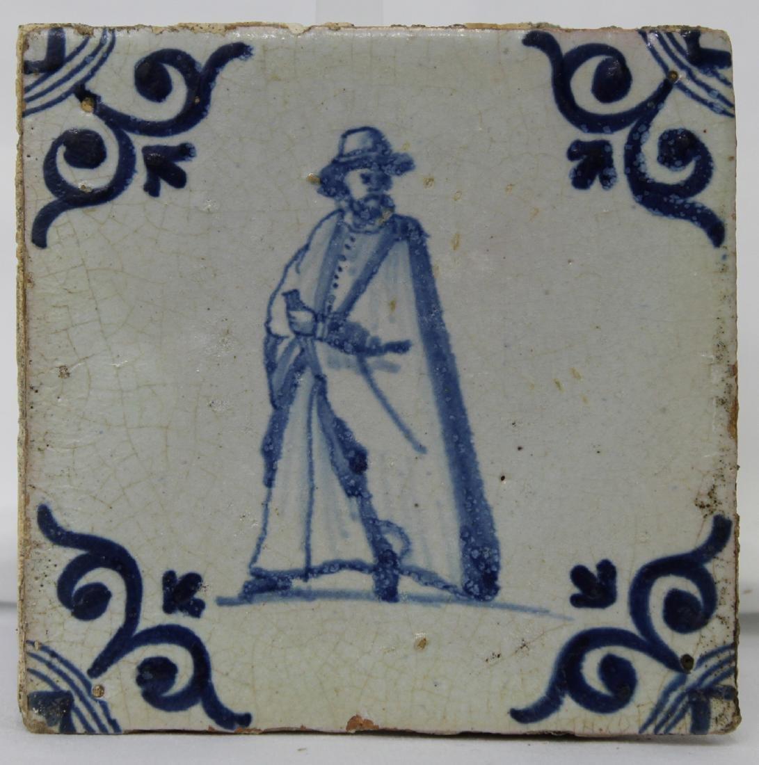 Set of Four (4) 17 Century Dutch Delft Blue Tiles - 6