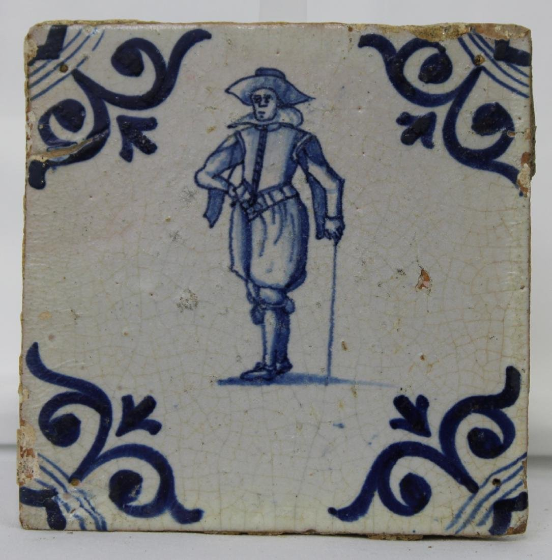 Set of Four (4) 17 Century Dutch Delft Blue Tiles - 8