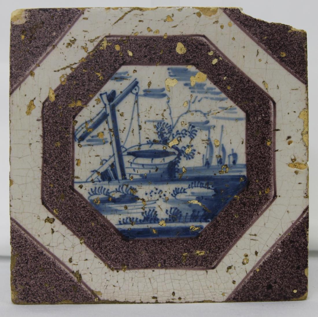 Late 17 Century Dutch Delft Blue and Purple Powdered