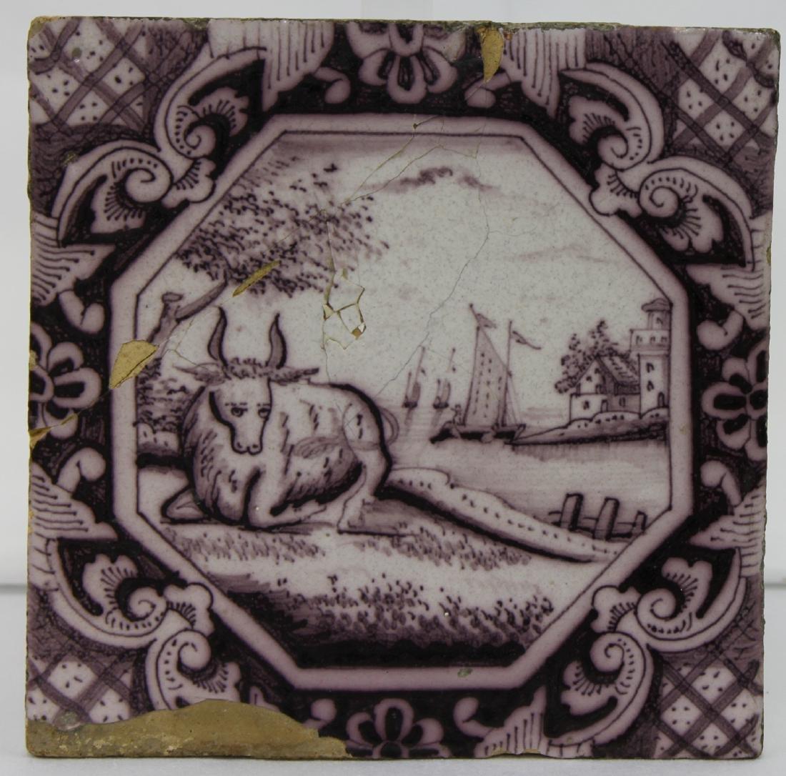 Late 17 / Early 18 Century Dutch Delft Purple Tile