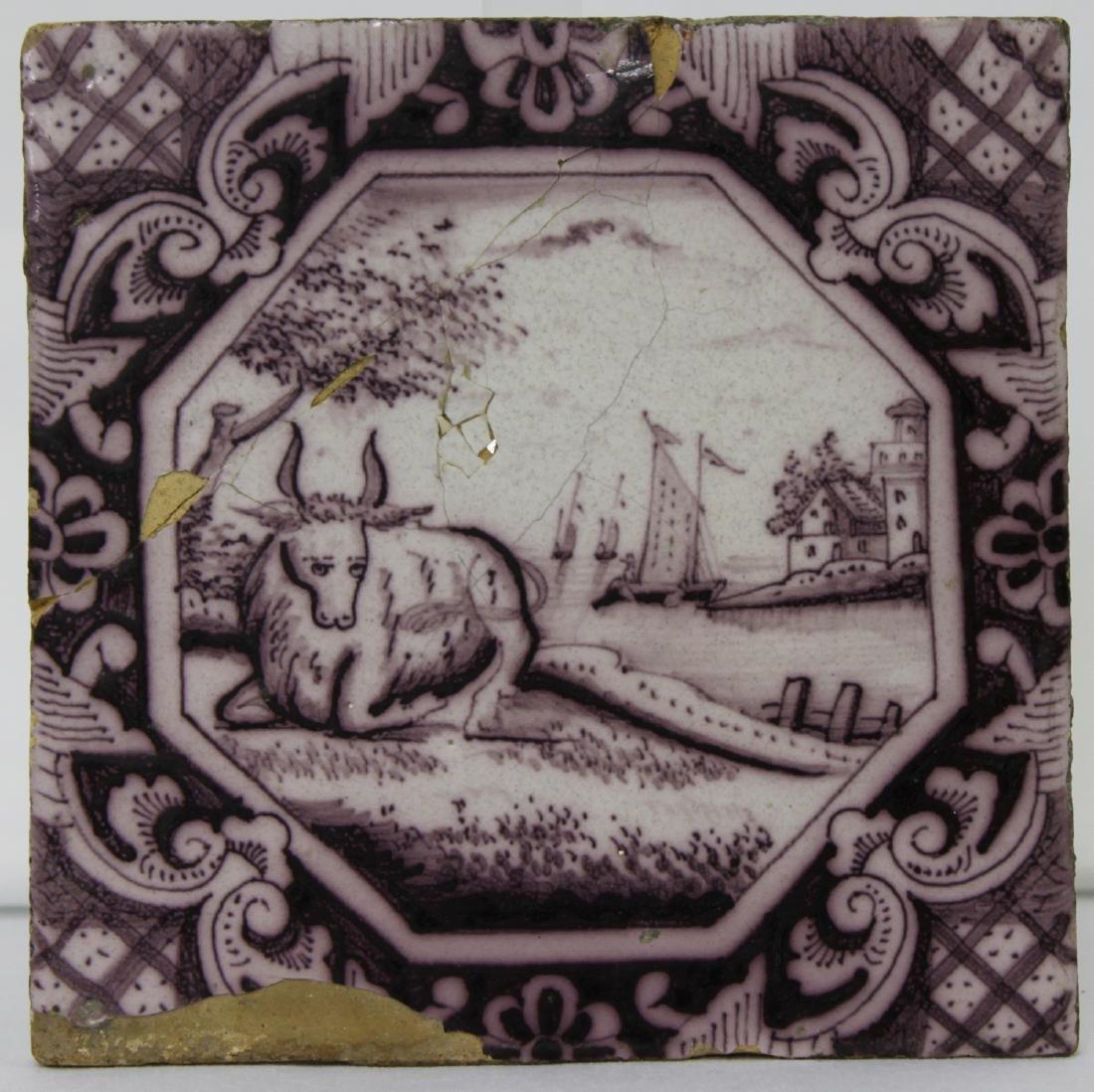 Late 17 / Early 18 Century Dutch Delft Purple Tile - 3