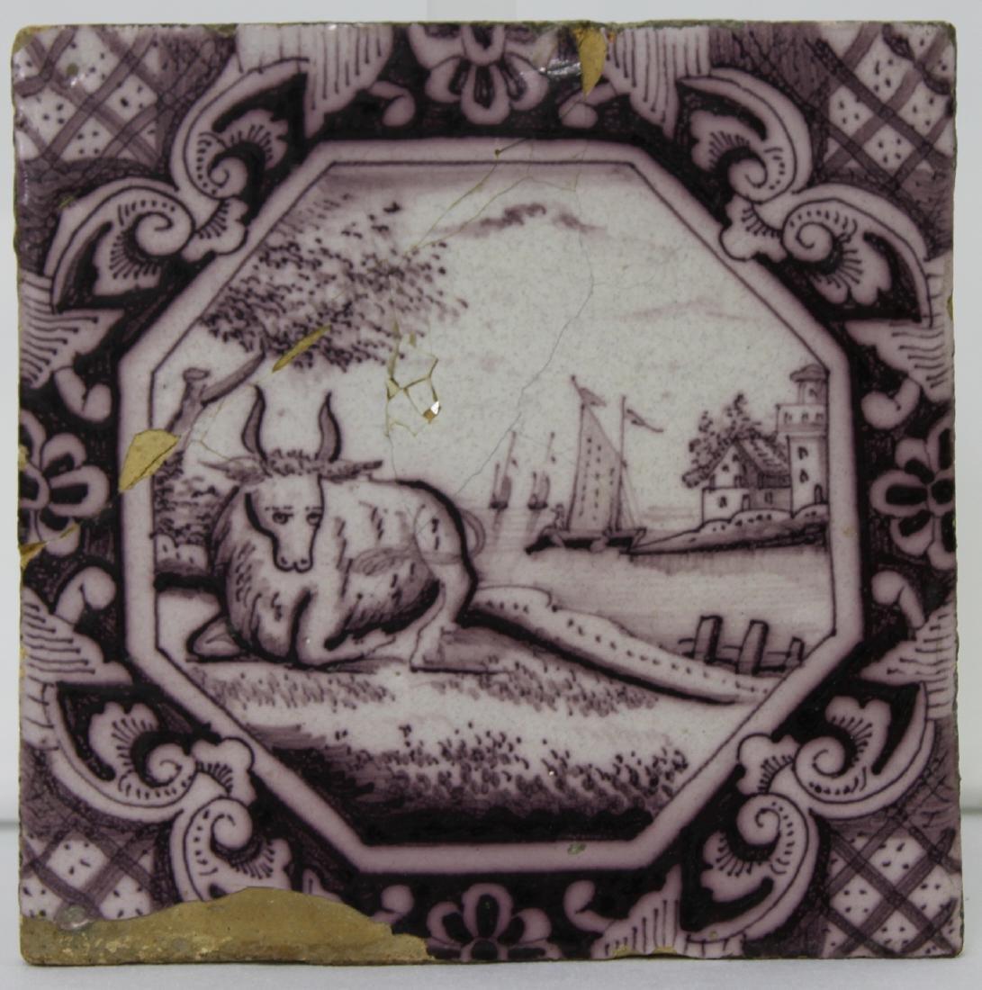Late 17 / Early 18 Century Dutch Delft Purple Tile - 4