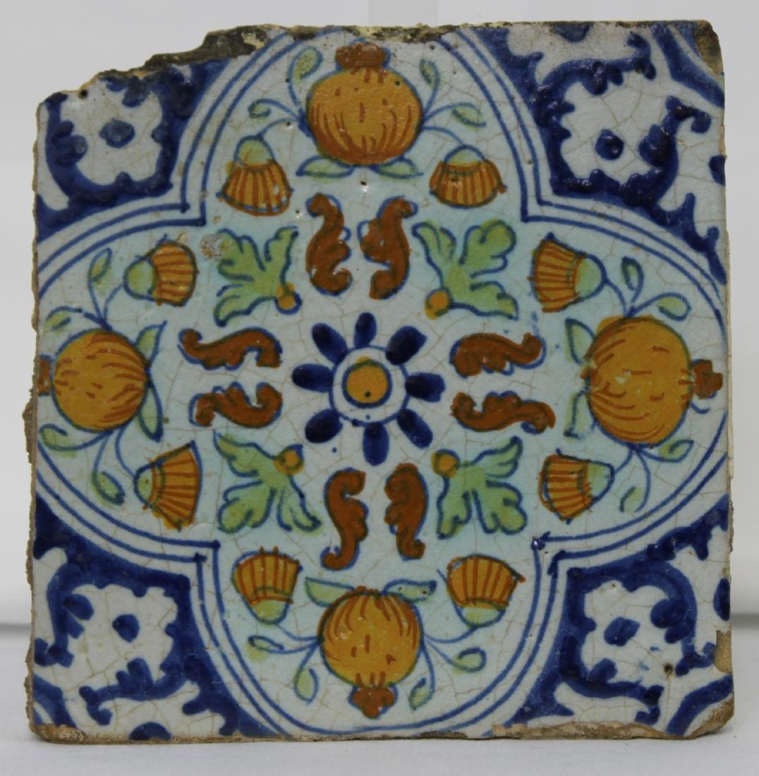 17 Century Dutch Delft Blue Colored Tile