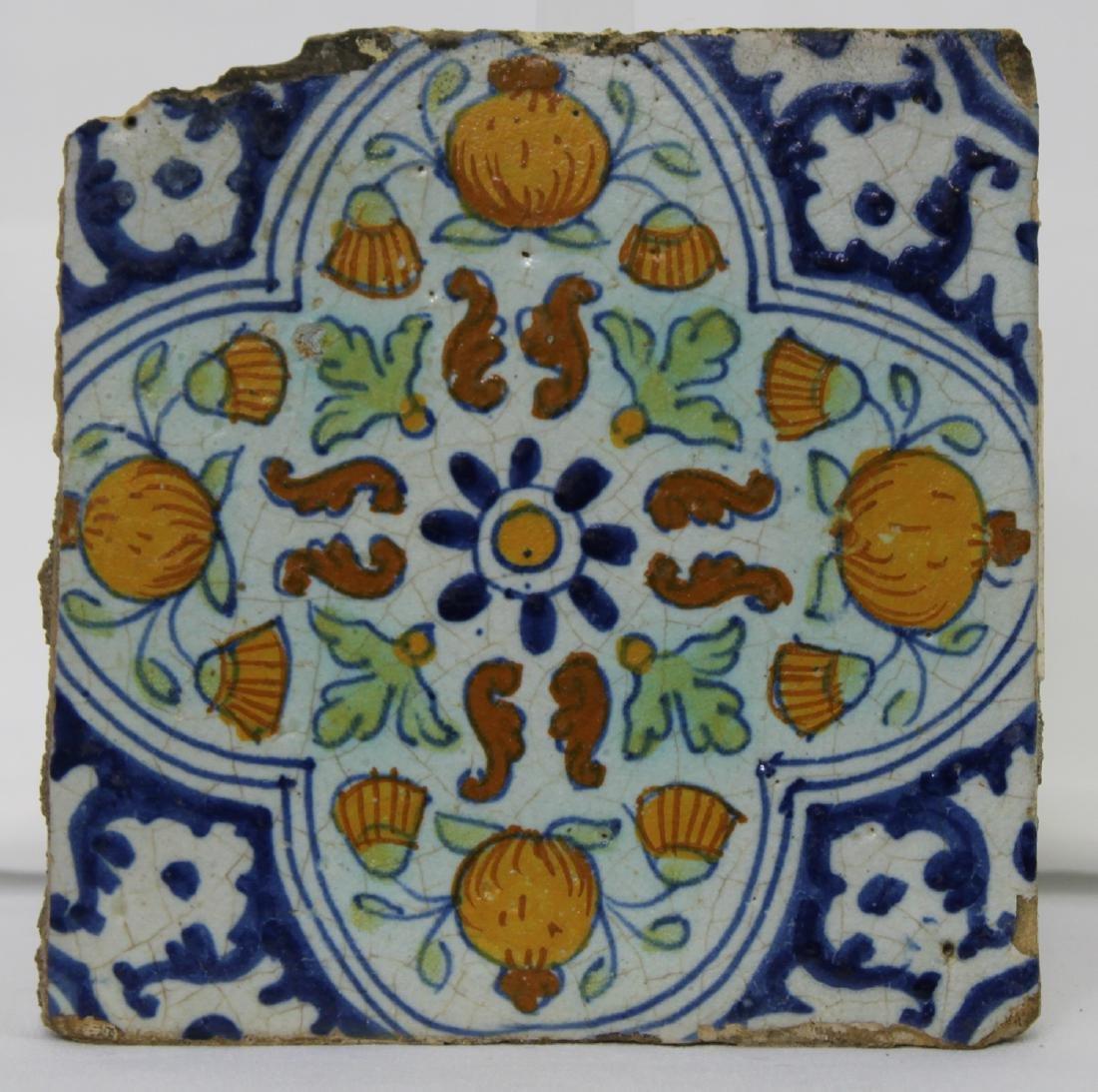 17 Century Dutch Delft Blue Colored Tile - 2
