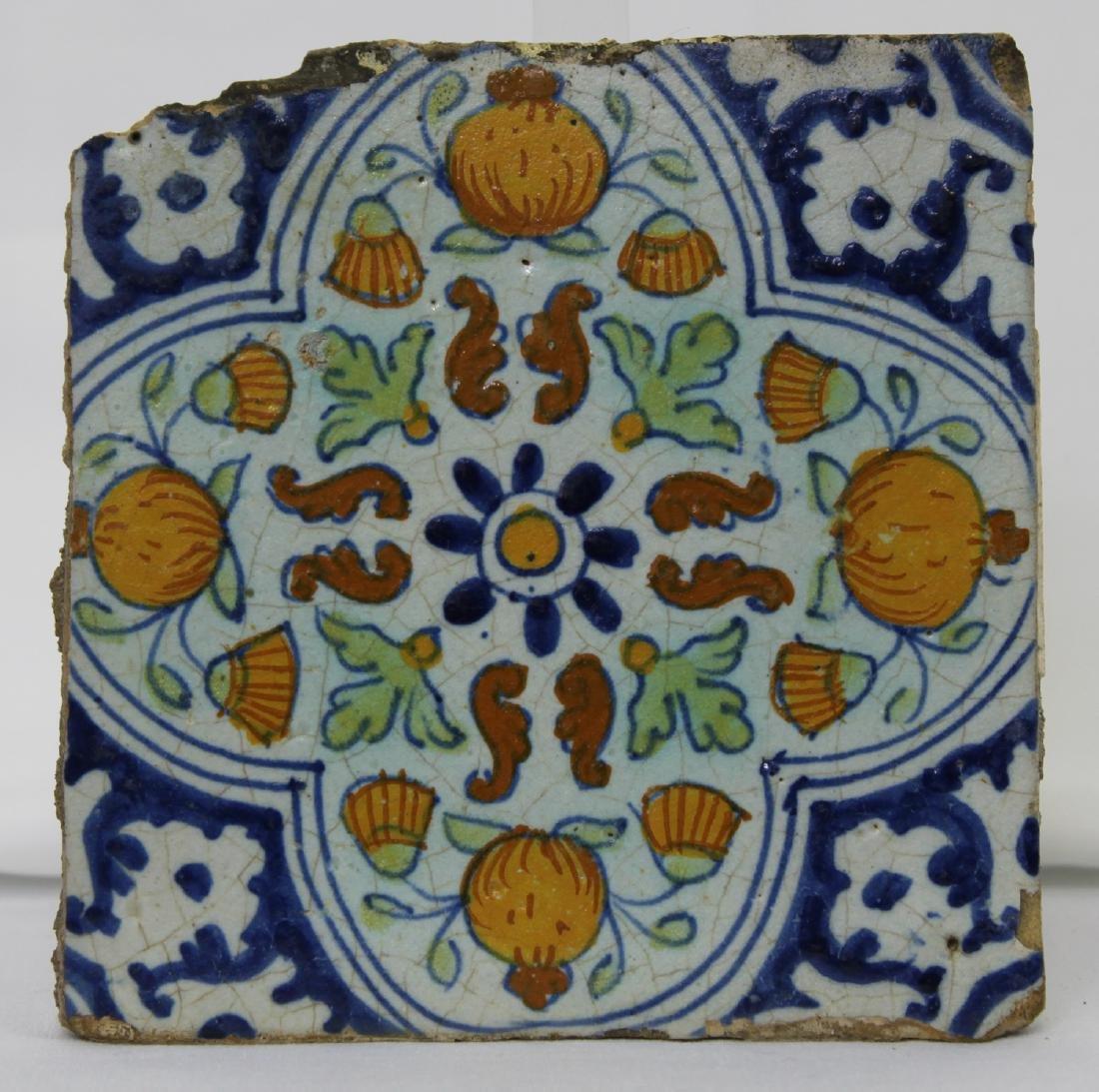 17 Century Dutch Delft Blue Colored Tile - 3