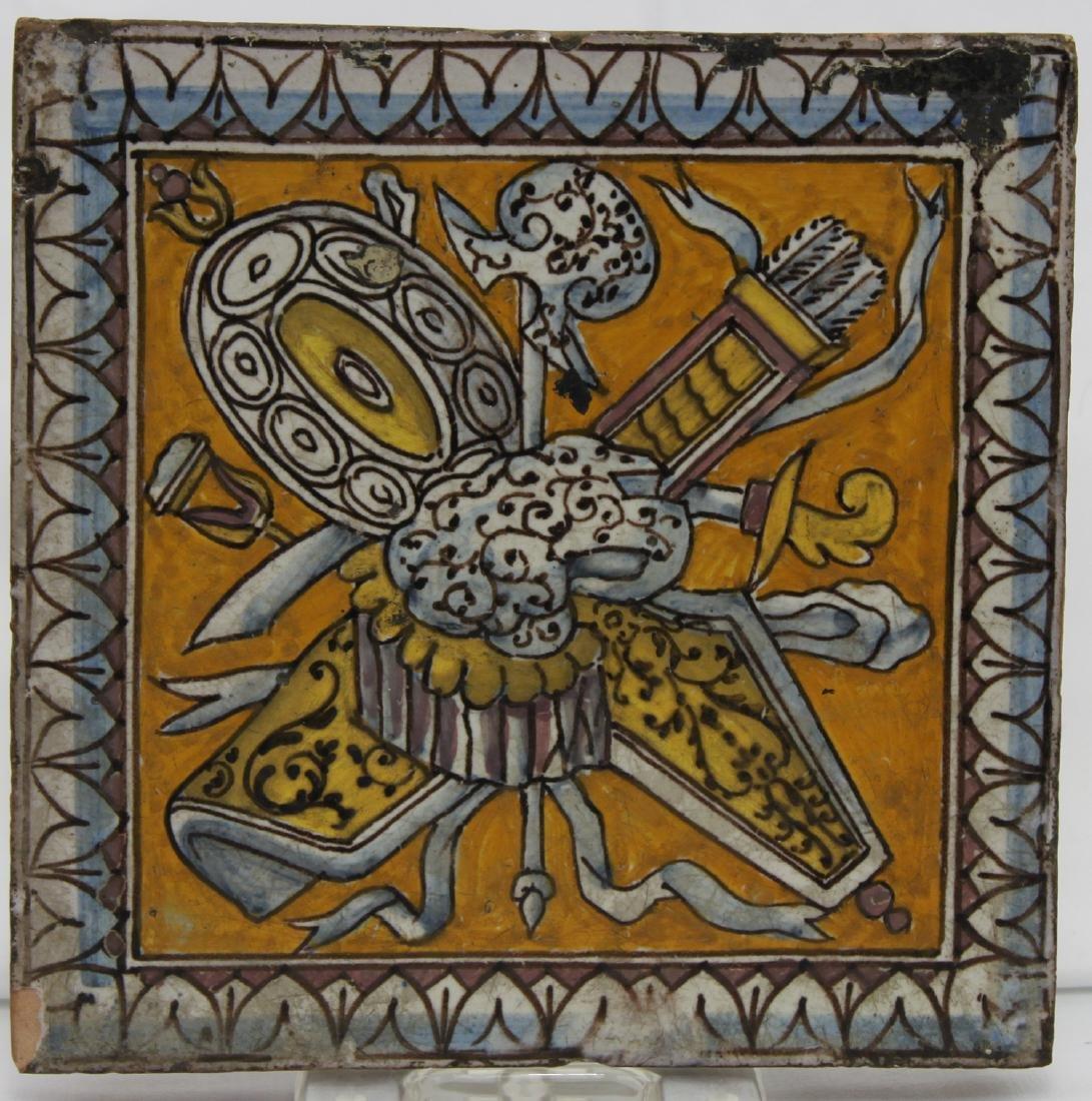 17 Century Dutch Delft Colored Tile