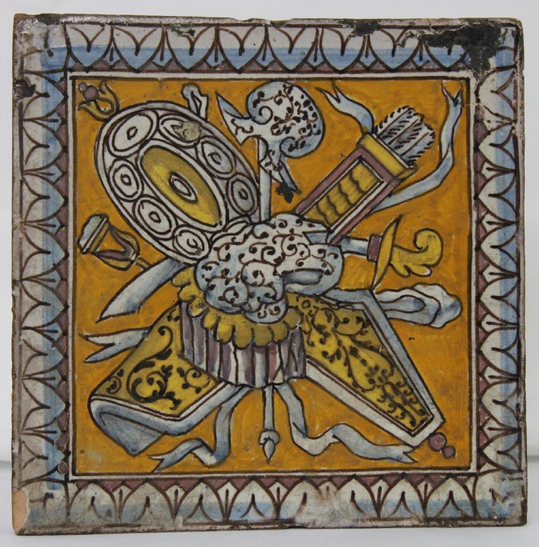17 Century Dutch Delft Colored Tile - 4