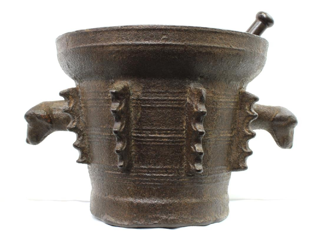 Rare and Large 16th Century Iron Mortar and Pestle