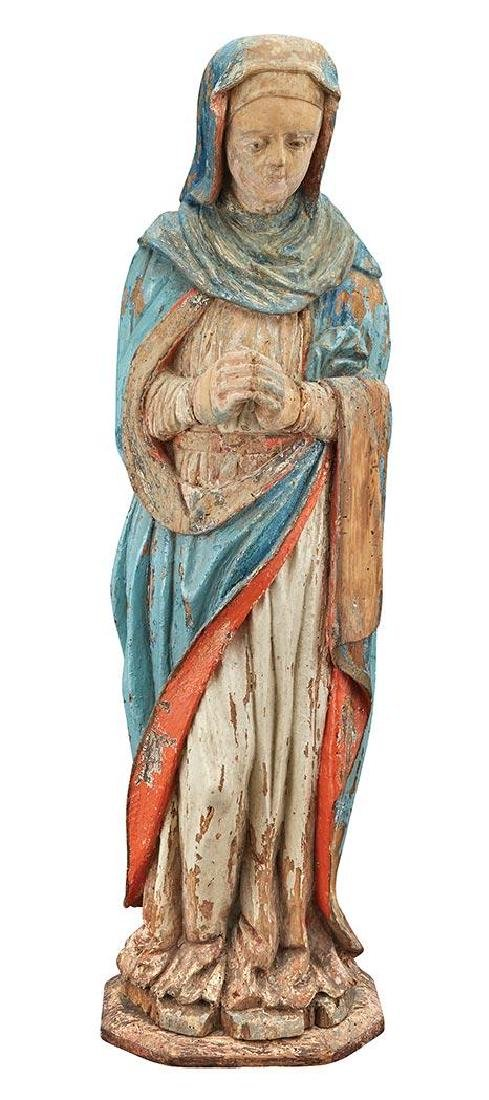 16th century Polychrome Decorated Figure of the Virgin