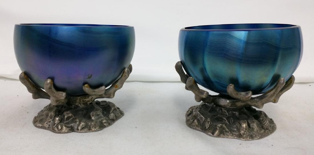 Pair Tiffany Favrile Blue Bowl on Metal Base - 2