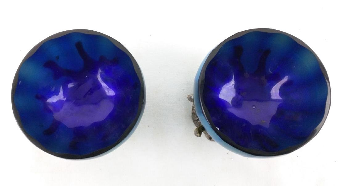Pair Tiffany Favrile Blue Bowl on Metal Base - 5