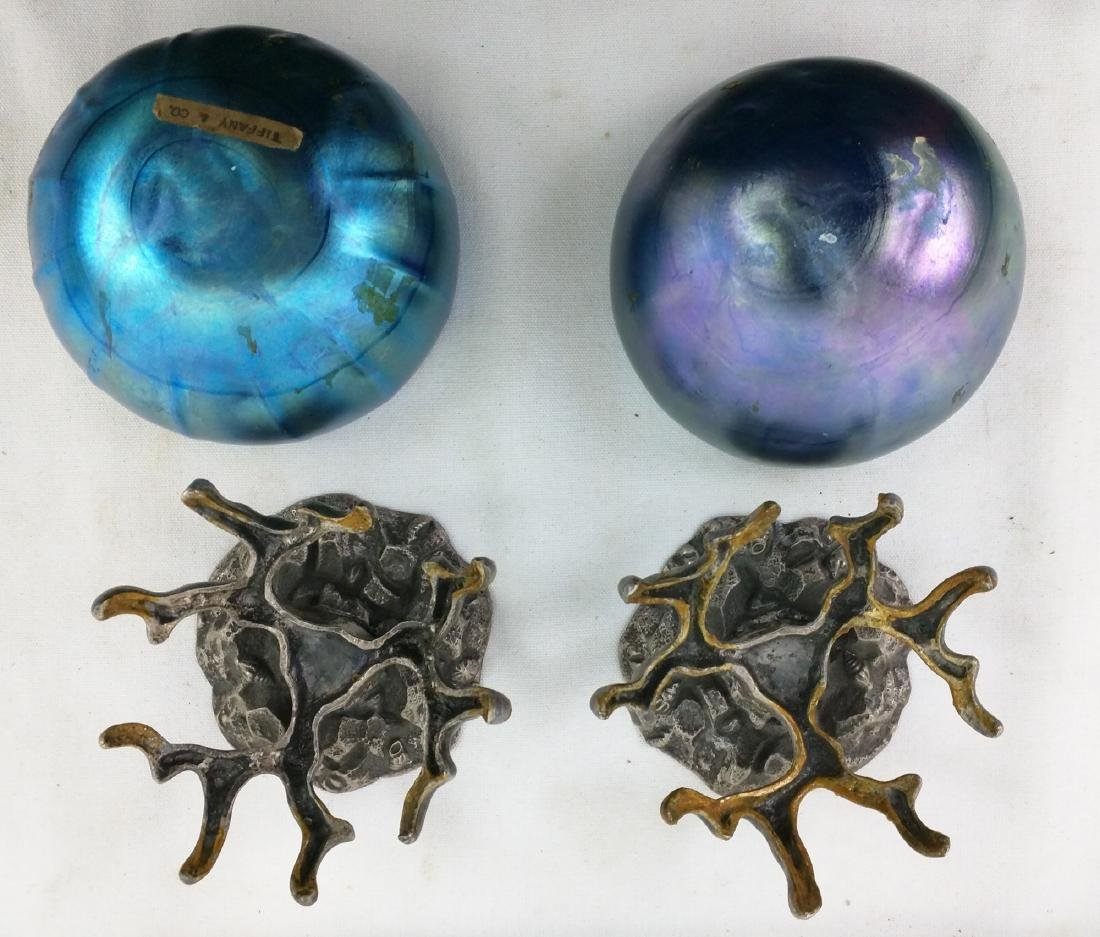 Pair Tiffany Favrile Blue Bowl on Metal Base - 6
