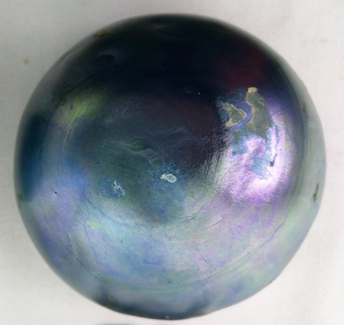 Pair Tiffany Favrile Blue Bowl on Metal Base - 8