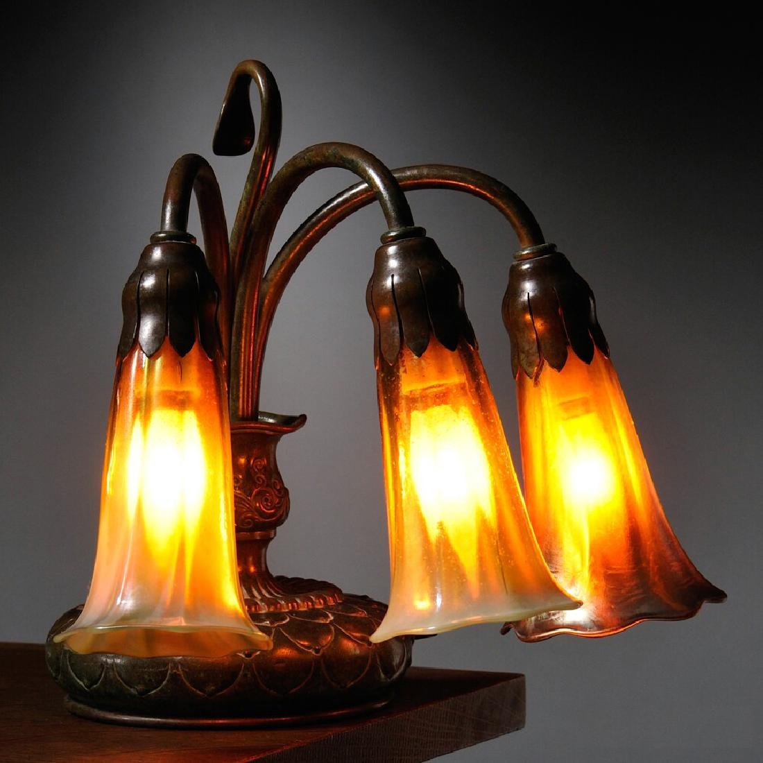 Tiffany Studios Three- Favrile light Piano Lamp - 2