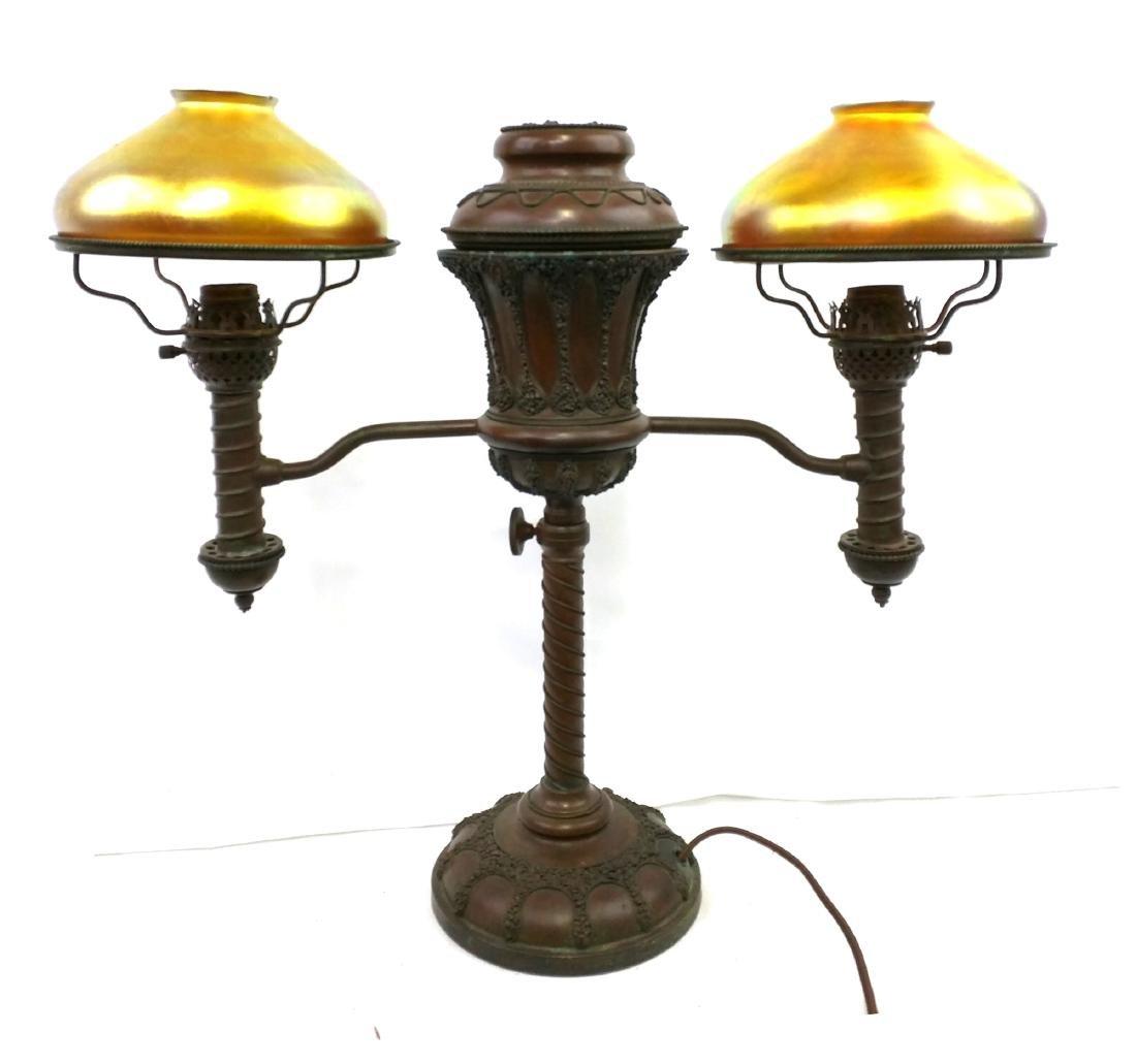 TIFFANY STUDIOS DOUBLE STUDENT LAMP BASE - 2