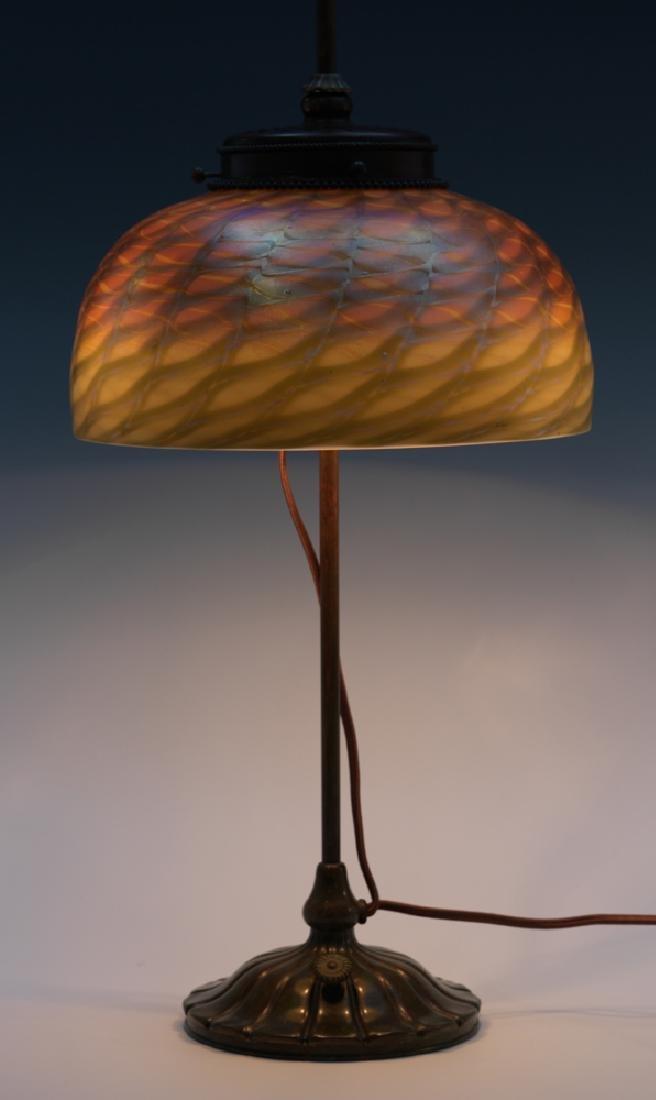 Tiffany Studios Lamp with Damascene Shade - 2