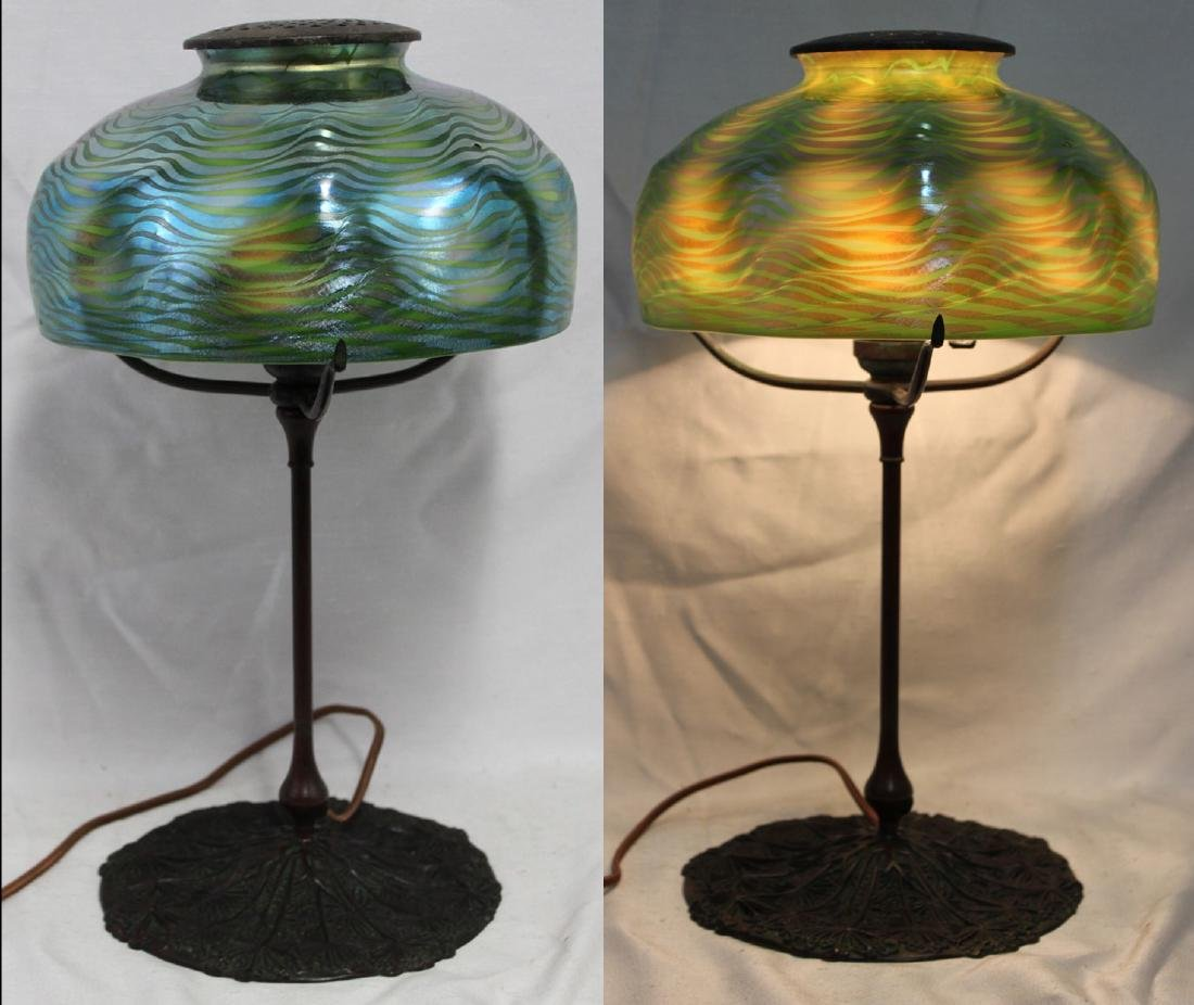 Tiffany Studios Bronze Base With Tiffany Favrile