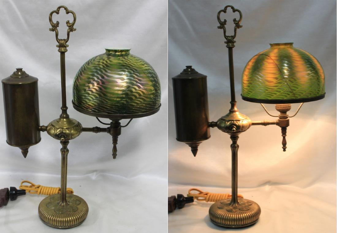 TIFFANY STUDIOS BRONZE SINGLE STUDENT LAMP BASE W/