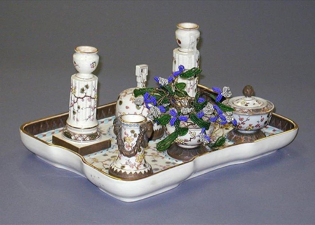 Probably French Porcelain 7-Piece Desk Set