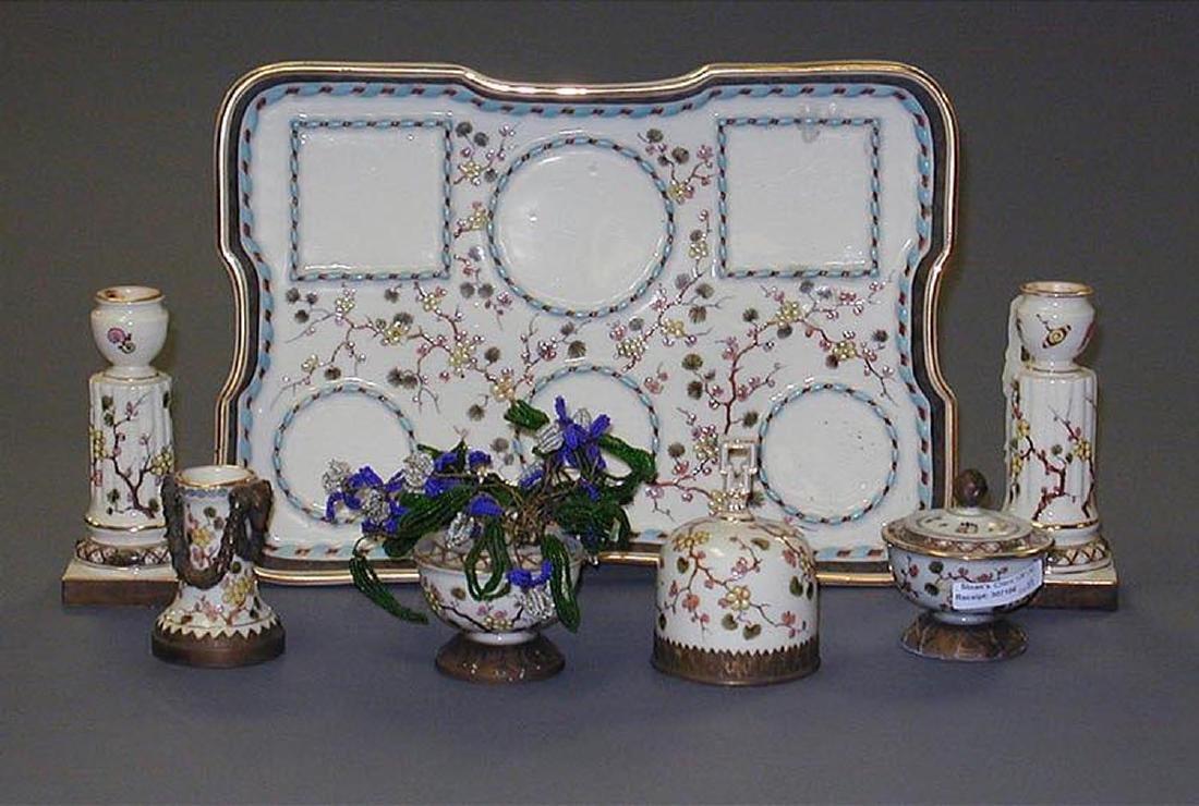 Probably French Porcelain 7-Piece Desk Set - 2