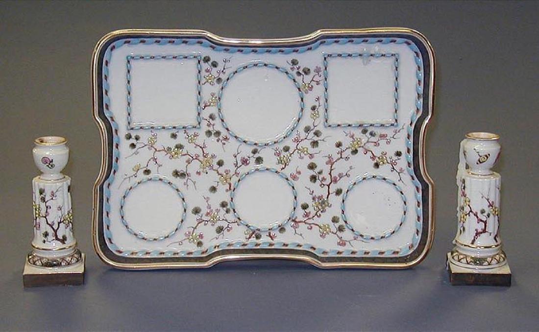 Probably French Porcelain 7-Piece Desk Set - 3