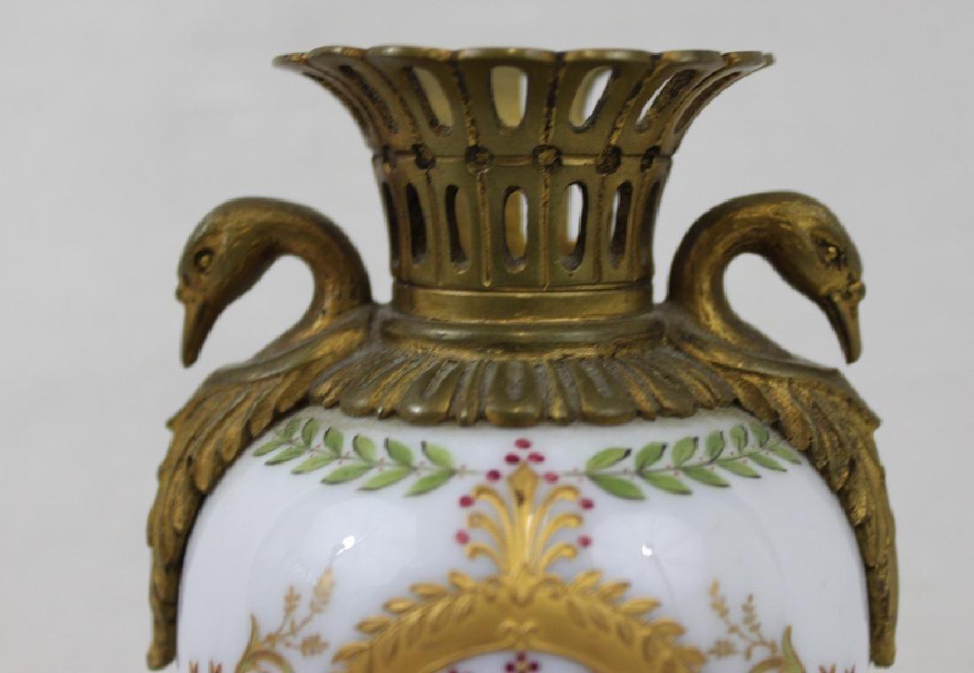 Russian Bronze, Enameled Porcelain Cabinet Vase - 4