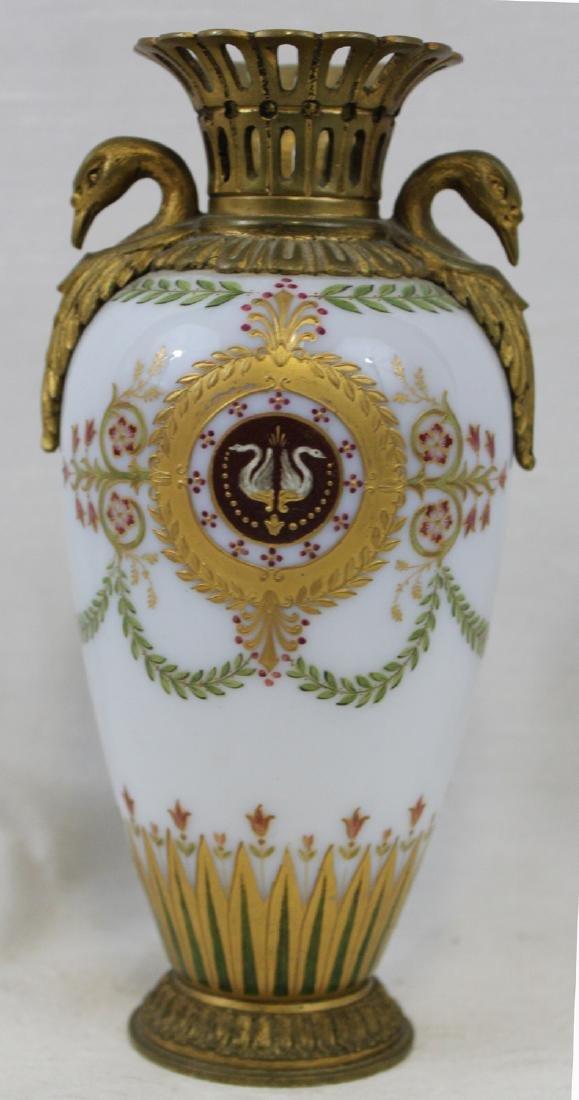 Russian Bronze, Enameled Porcelain Cabinet Vase - 6