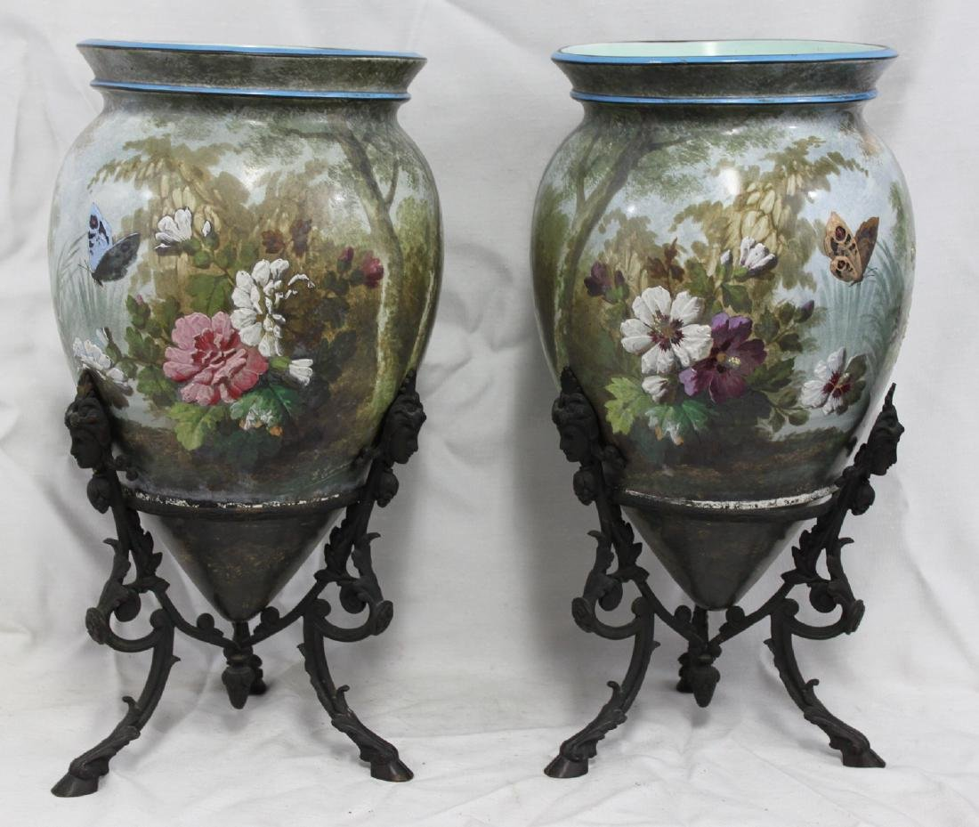 Pair of Hand-Painted Pottery (Porcelain) Vases on