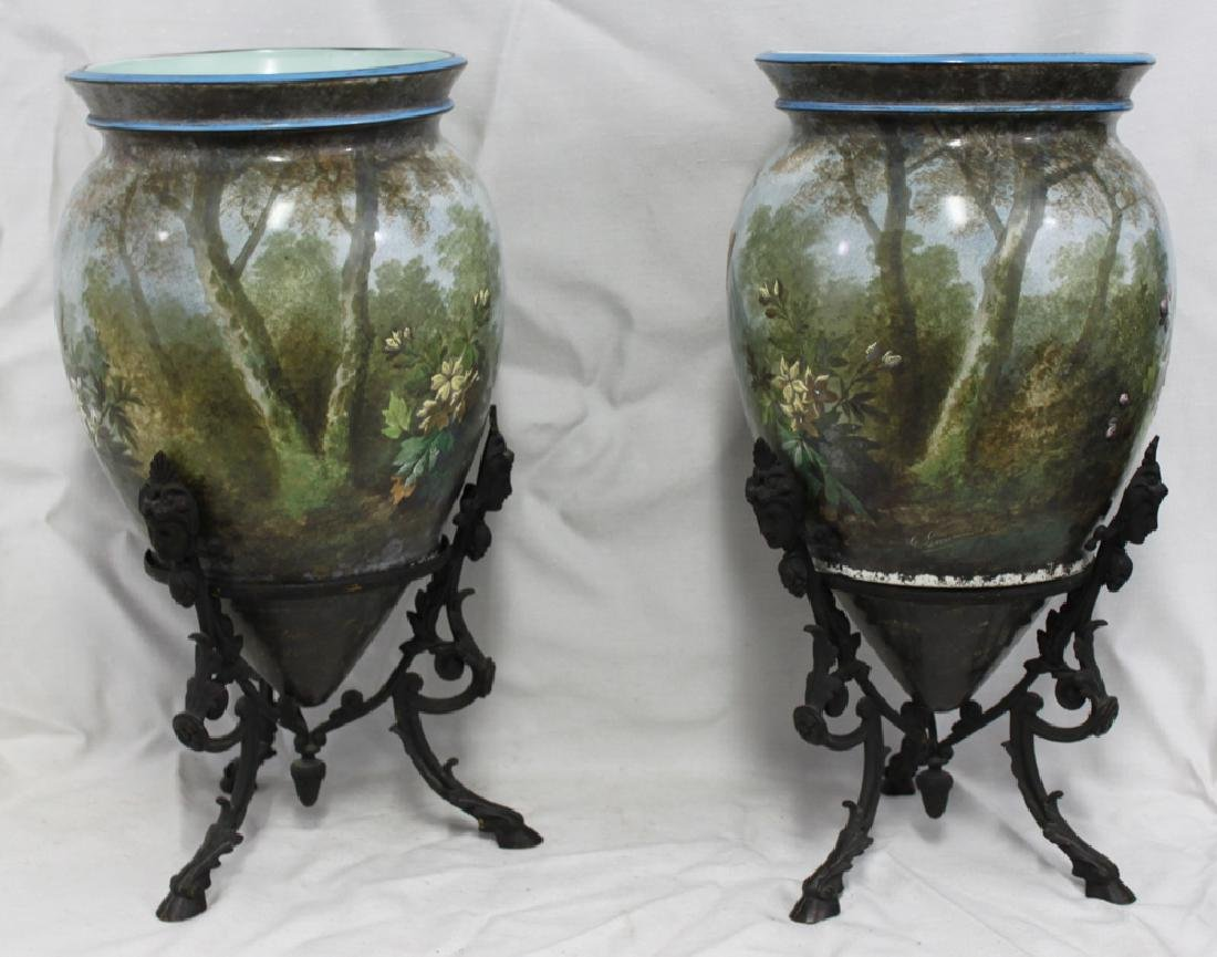 Pair of Hand-Painted Pottery (Porcelain) Vases on - 2