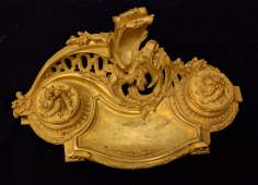 French Gilt Bronze Inkwell Stamped & Signed