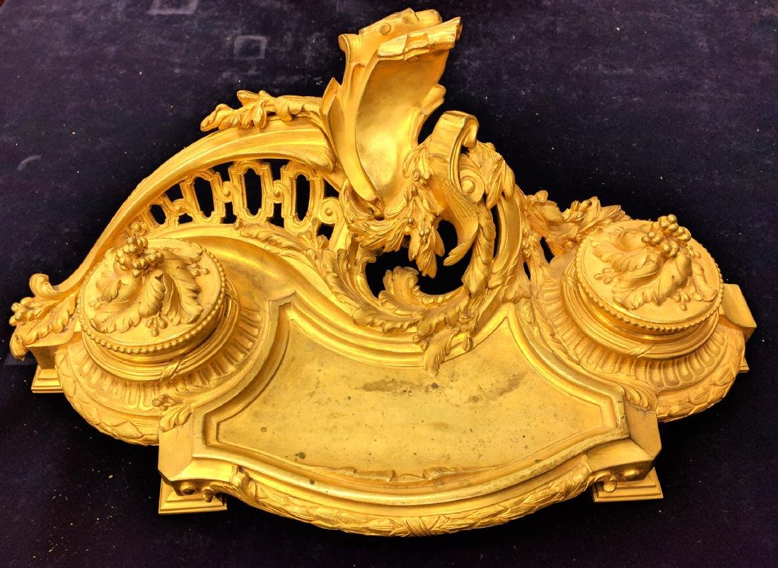 French Gilt Bronze Inkwell Stamped & Signed - 2