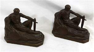 Pair of French 19 Century Bronze Figural Bookends